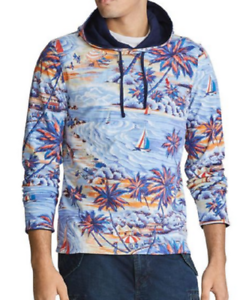 Polo-Ralph-Lauren-Men-039-s-SZ-XL-Blue-Tropical-print-Palm-Tree-Reversible-Hoodie