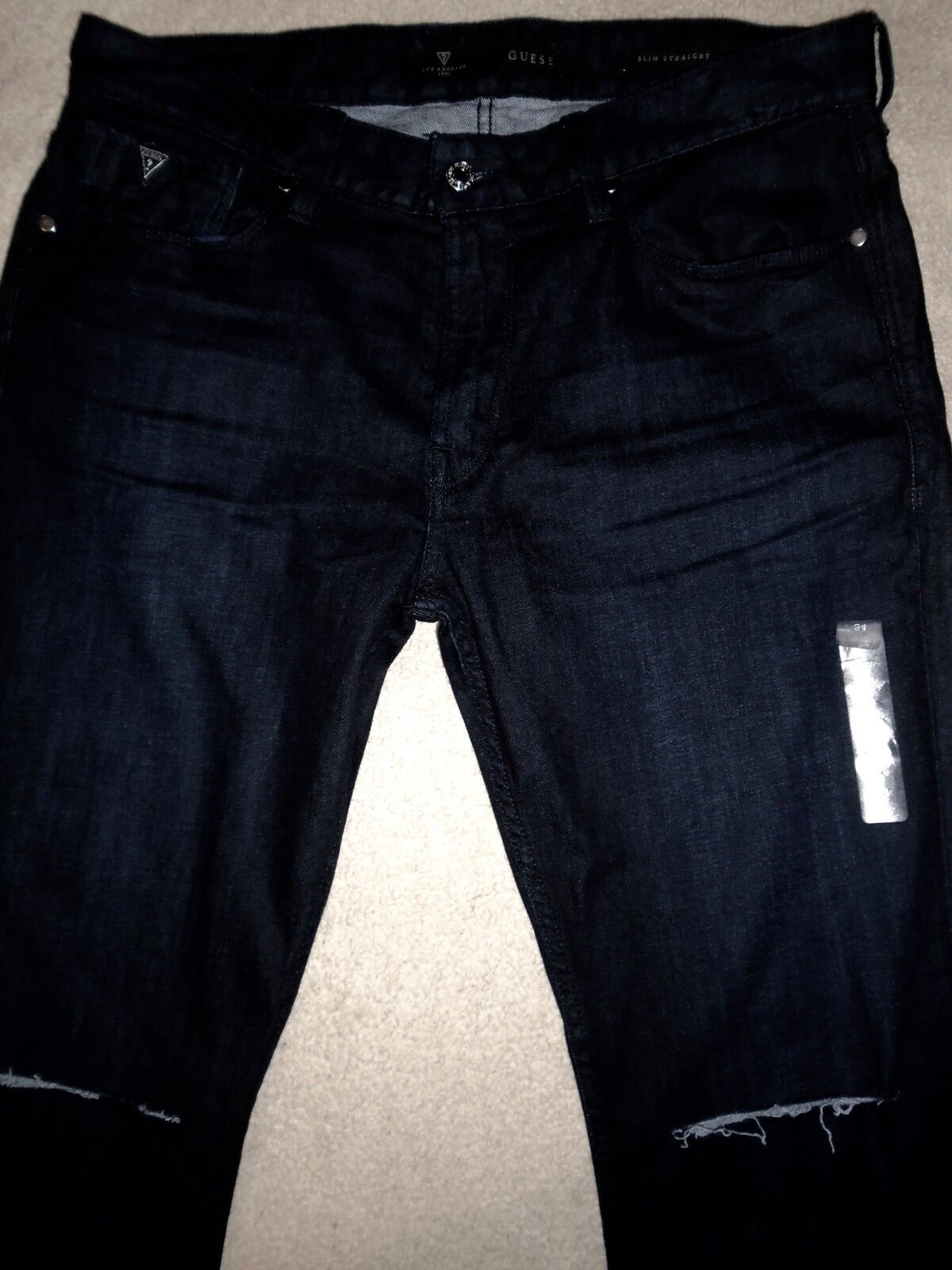 GUESS Dark Inky bluee Slim Straight Tapered Stretchy Jeans 34 x 32 Men Orig.+
