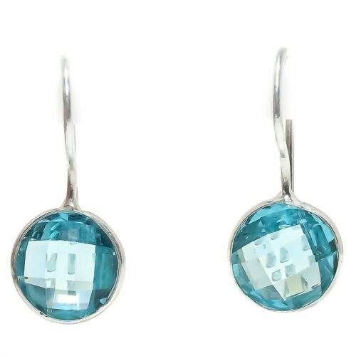 "Blue Topaz Gemstone Handmade Ethnic Fashion Jewelry Earring 0.9/"" SE3066"