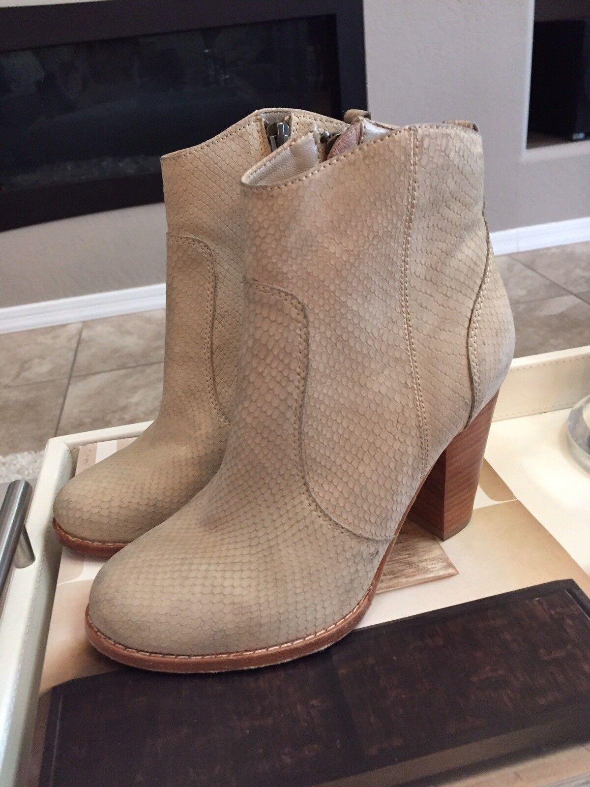 Joie Dalton Suede Ankle Boots Women's Size 36, Send Snakeskin Look