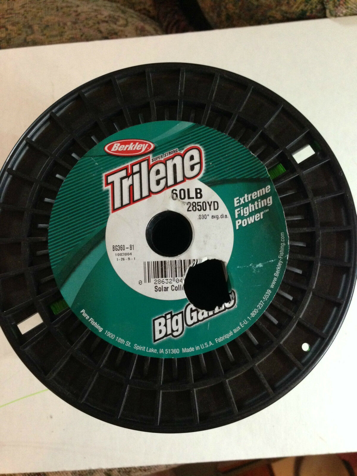 Berkley BG36081 Trilene Big Game 60 pound verde partial spool