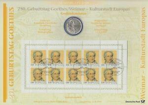Rfa Numisblatt 3/1999 250 Ans Johann Wolfgang V. Goethe Avec 10-dm - Argent Pièce De Monnaie-nzeafficher Le Titre D'origine