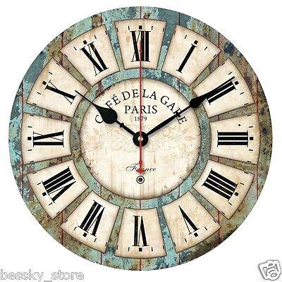 European Style Vintage Creative Round Wood Quartz Wall Clock Home Office Decro