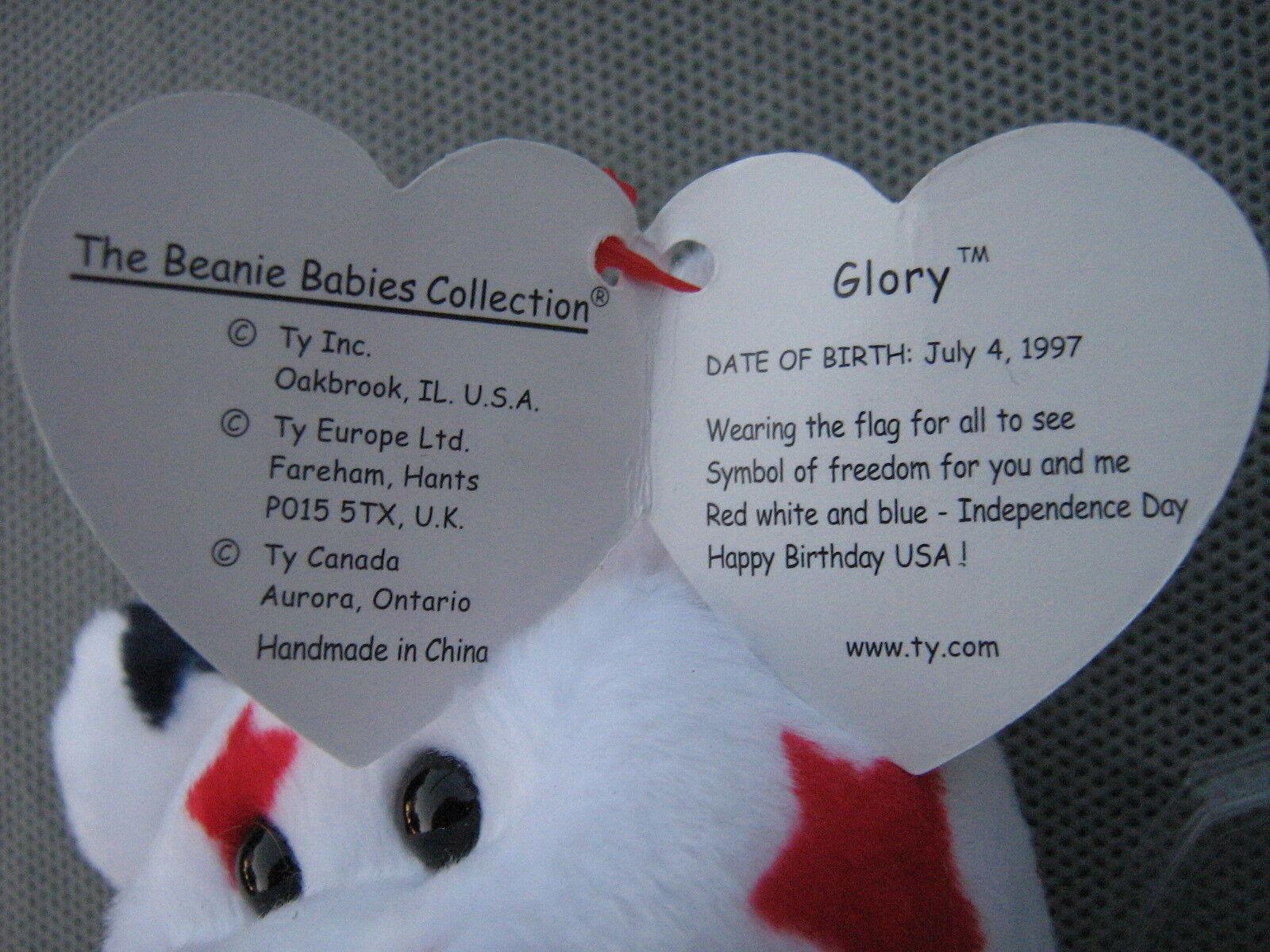 Ty Beanie Baby  GLORY  the Bear Bear Bear with Tag Errors RARE     - DOB 1997 CLEARANCE 18e042