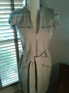 NWT-CYNTHIA-STEFFE-Gray-Full-Zip-Belted-Dress-Size-2-255-P10135