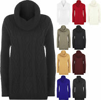 Womens Cable Knitted Cowl Polo Neck Long Sleeve Sweater Top Ladies Jumper 8-16