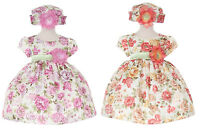 Baby Girls Flower Printed Jacquard Dress Hat Easter Wedding Party Me840