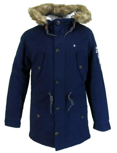 Lambretta Mens Navy Retro Fishtail Parka Quilted//Sherpa Lined