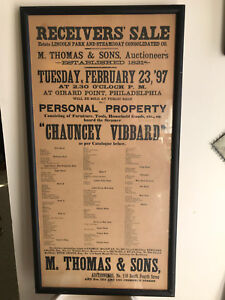 Framed 1897 Antique Auction Sale Poster Contents Of Steamship Chauncey Vibbard Ebay