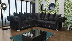 New Large Valenzia Corner Sofa Chesterfield Style Crushed Velvet Or