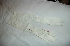 Vintage Sil- Satin Ivory Opera Long Gloves with crystal Sz 7 1/2 made in Germany
