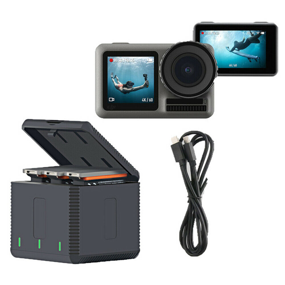 3-Ports Triple USB Storage Case For DJI Osmo Action Camera Box Battery Charger