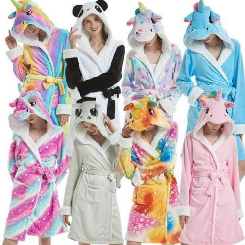 Damen Einhorn Bademantel Kapuzen Morgenrock weiches Fleece warme Nachtwäsche KD