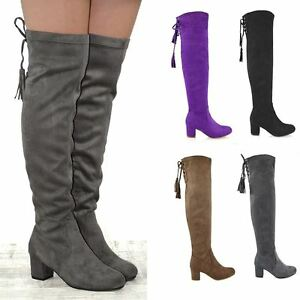 New-Womens-Over-The-Knee-High-Stretch-Leg-Ladies-Block-Heel-Lace-Up-Long-Boots