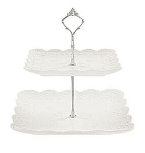Kaleidos - Alzata quadrata 2 piani in porcellana Bianca modello CHARME