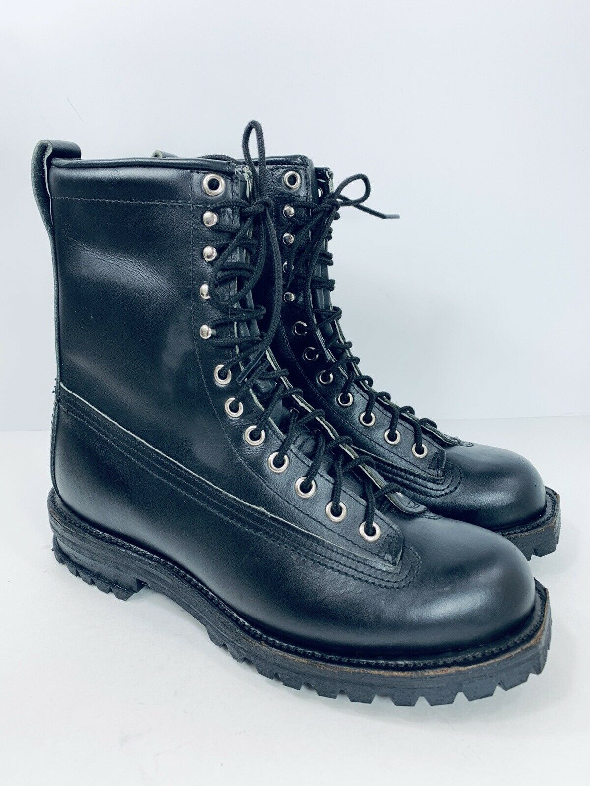 Vtg Black Leather Logger Motorcycle Firefighter Vibram Steel Toe Boots Mens 8 D
