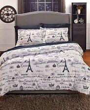 Vintage Paris City Of Lights King Size Comforter Set Eiffel Tower Bedroom Decor