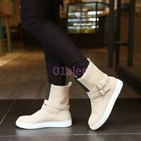 Womens Comfort Buckles Belt MId Calf Winter Snow Boots Fur Lined Warm Shoes Flat