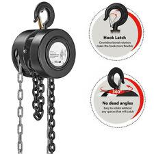10 Feet Manual Hand Chain Block Hoist With 2 Hooks 1 Ton Capacity Black Lift Tools