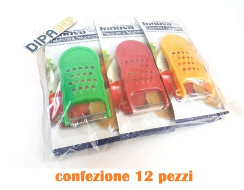 Set 12 Pezzi PelaFrutta e PelaPatate Colorato Grattugia Plastica moc