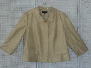 Metallico ~ Party ~ Cocktail rayon ~ Talbot Gold wow 18 ~ Cotton euc Dressy Jacket Ivory ~ nzqtRI