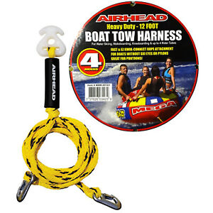 details about airhead heavy duty 12ft boat tow rope harness 4 rider ski tube towable wakeboard  airhead tow harness #13