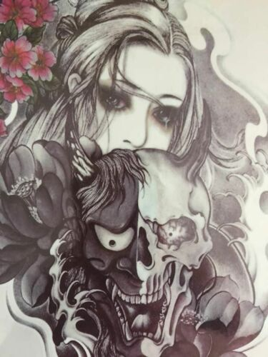 1 Waterproof Skull Lady Temporary Tattoo Sticker Body Art Removable Beauty
