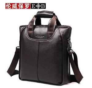 ae78142b500 Image is loading Men-039-s-Genuine-Leather-Handbag-Messenger-Shoulder-