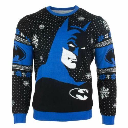 S NEUF Official Numskull Noël Noël Pull Batman Bleu Noir UK M//US