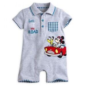 de5a60cdd Genuine Disney Store Mickey Mouse & Pluto Gray Baby Boy Romper 9-12M ...