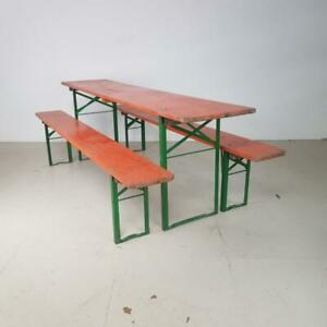 Surprising Details About Vintage Industrial German Beer Table Bench Set Garden Furniture Orange Evergreenethics Interior Chair Design Evergreenethicsorg