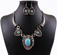 Fashion Tibet Silver Turquoise Blue Stone Bib Choker Necklace Earrings Set
