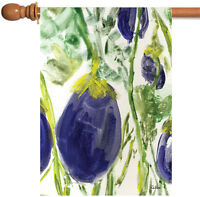 Toland - Watercolor Eggplants - Purple Veggie Vegetable House Flag