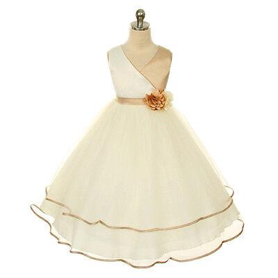 CHAMPAGNE Flower Girl Dress Bridesmaid PromWedding Recital Formal Birthday Dance