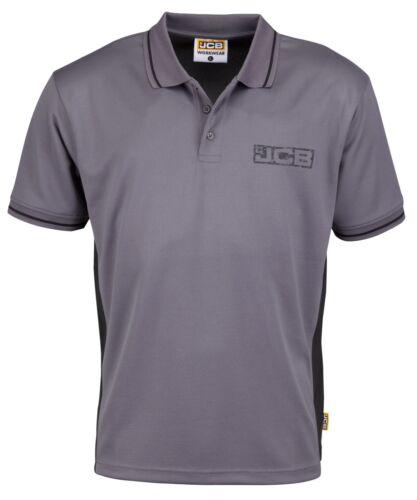 Sizes S-XXL JCB Trade Performance Polo Shirt Grey /& Black