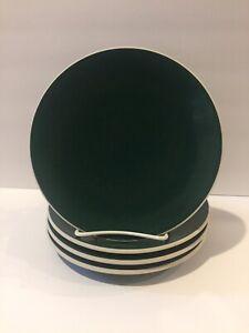 Sasaki-Hunter-Green-set-of-4-salad-plates-7-1-2-034-Vignelli-Designs-1986-stoneware