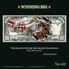 Michael Godard $1,000 Bill Winning Big Gambling Fantasy Money Print Poster 12x12