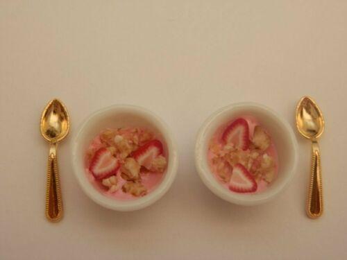 Casa De Muñecas-Alimentación sana desayuno museuli /& Fresa yogur para dos-por Fran