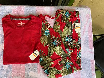 Tommy Bahama LARGE Pajama Sleep Loungewear Pants And T-Shirt NWT Red Hawaiian