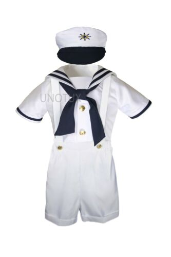 New Baby /& Toddler Formal Party Nautical Sailor Suit Outfits SZ S M L XL 3T 4T