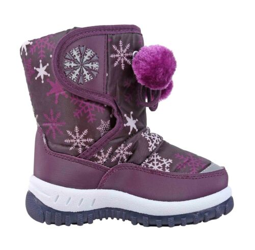 3 Color Water Resistant Round Toe Pompom Girls Toddlers Kids Winter Snow Boots