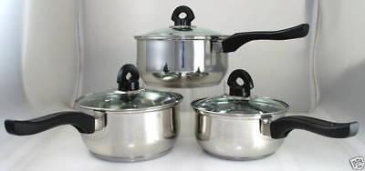 Forte Brand New Set Di 3 Cookware Saucepan Impostare Il Prezzo è Buono-mostra Il Titolo Originale Prezzo Di Strada