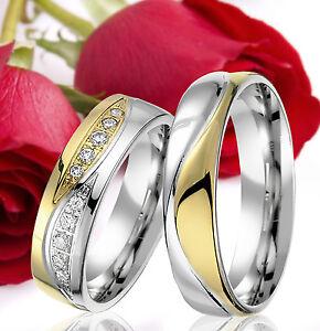 2-SILBER-Partner-Ringe-Trauringe-Eheringe-Gravur-Gratis-GOLD-Plattiert-T302