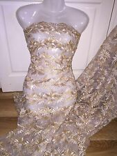 "1 MTR GOLD SCALLOPED EMBROIDED CRYSTAL TULLE BRIDAL LACE NET FABRIC 42"" WIDE"