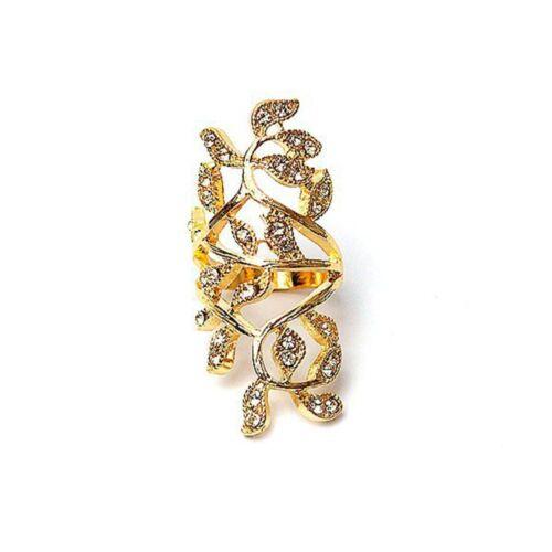 Fine Knuckle Retro Luxury Hot Women Elegant Leaf Shape Crystal Fashion Ring
