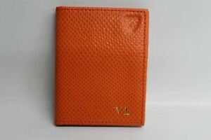 ASPINAL-OF-LONDON-Orange-Lizard-Leather-Bifold-ID-amp-Travel-Card-Case-NEW