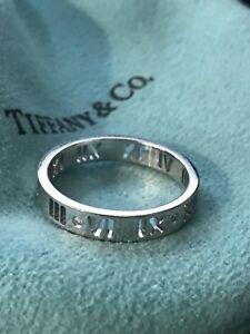 54f29d1fc Tiffany & Co. 18k White Gold and Diamond Atlas Pierced Band Ring ...
