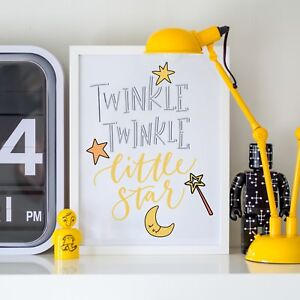 Details about Twinkle Little Star Yellow Blue Kids Play Unisex Room Wall  Art Print Decor Gift