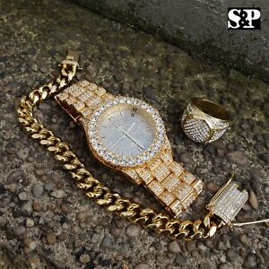 MEN-HIP-HOP-ICED-OUT-LAB-DIAMOND-WATCH-amp-RING-amp-CUBAN-CHAIN-BRACELET-COMBO-SET