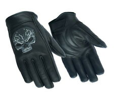 JET Motorcycle Motorbike Gloves Summer Leather Long Cuff Reflective RAVEN XL, Black